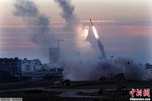 """以色列""""铁穹""""反导系统发射导弹"""